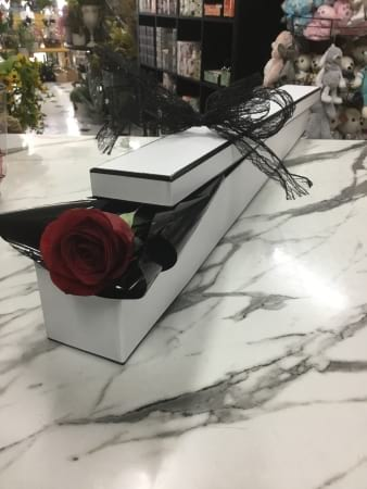 gift boxes premium long stem single red rose