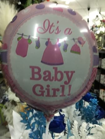 Baby girl air filled balloon on a stick 18cm
