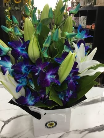 Blue Orchid and Lily arrangement