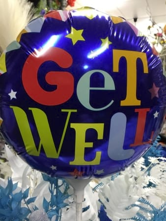Get well soon air filled balloon on a stick 18cm