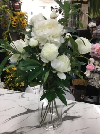 Artificial glass vase white peonie arrangement