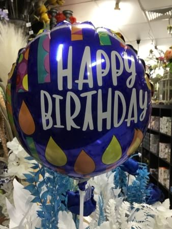 Happy birthday male air filled ballon on a stcck 18cm