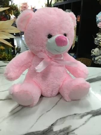 Plush pink teddy 26cm sitting height