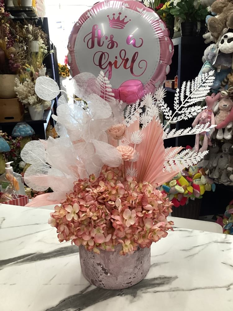 Preserved and artificial baby girl floral arrangement