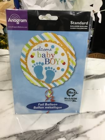 Baby boy helium filled balloon