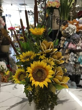 large potted sunflower artifical arrangement