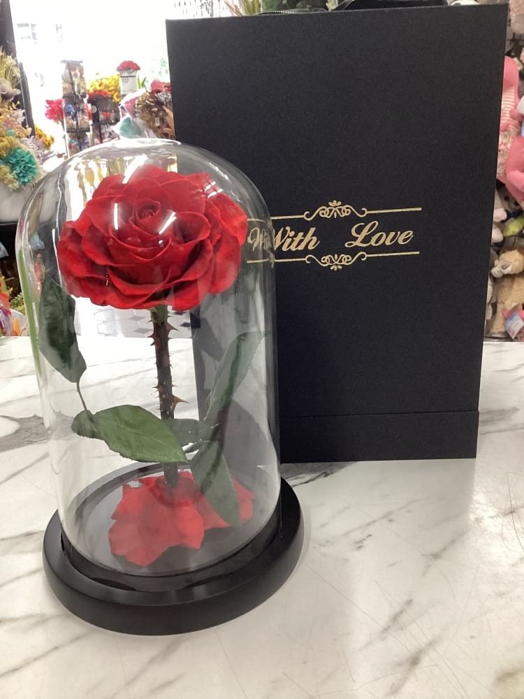 everlasting rose in glass dome includes presentation gift box