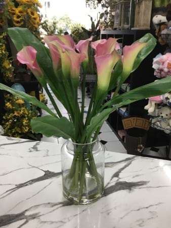 Pink cala lily artifical vase arrangement