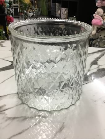 Diamond cut recycled squat vase