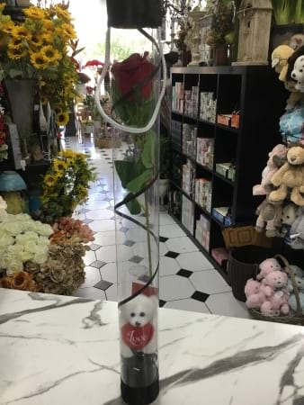 artificial rose cylinder with teddy 60 cm height