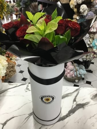 Twelve rose bouquet in tall had box presentation case