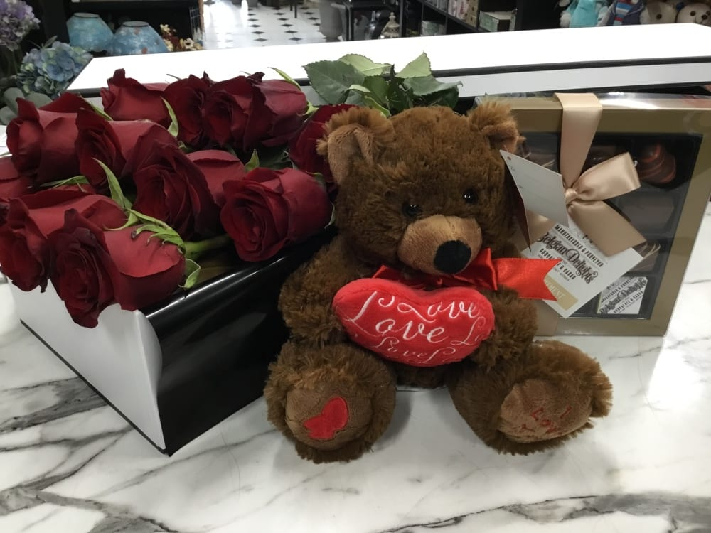 Box of 12 Roses and Chocolates and Teddy