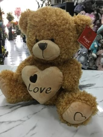 brown heart love teddy 27cm sitting height