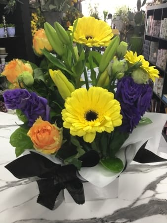 Bright bold boxed arrangement