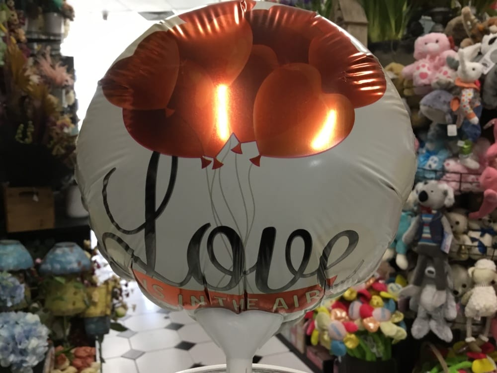 Love air filled balloon on a stick 18cm